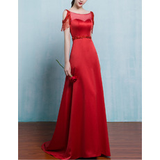 Fashionable A-Line Illusion Sweetheart Neckline Sweep Train Satin Red Evening Dresses with Beading Tassels
