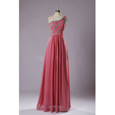 Classy One Shoulder Sleeveless Full Length Pleated Chiffon Evening Dresses with Crystal Detailing
