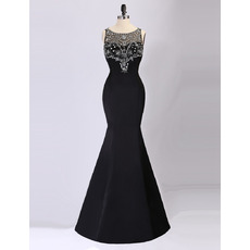 Feminine Illusion Neckline Mermaid Sleeveless Long Length Black Formal Evening Dresses with Crystal Detailing