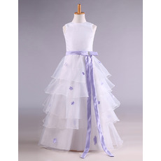Affordable Organza Layered Skirt Two Tone Flower Girl Dress/Plus Size First Communion Dresses
