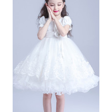 Couture Beautiful Ball Gown Knee Length Beaded Appliques White First Communion Dresses with Short Sleeves