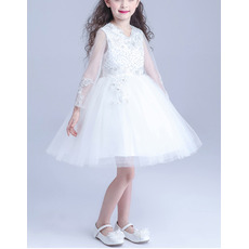 Beautiful Ball Gown Short Satin Tulle Flower Girl Dresses with Long Sleeves with Beaded Crystal Detailing