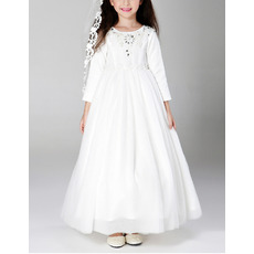 Inexpensive Ankle Length Satin Tulle First Communion Dresses with Long Sleeves and Crystal Detailing