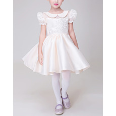 Lovely Cute A-Line Lapel Short Satin Flower Girl Dress with Puff Sleeves