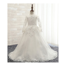 Affordable Sweep Train Satin First Communion Dresses with Long Sleeves