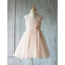 Inexpensive A-Line Spaghetti Straps Short Ruching Tulle Flower Girl Dresses with Hand-made Flowers