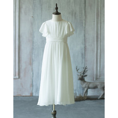 Simple Discount Tea Length Pleated Chiffon Ivory Flower Girl Dresses with Short Sleeves for Summer