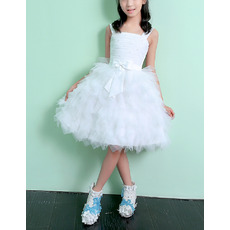 Discount Affordable Wide Straps Knee Length Ruffle Skirt White Tulle Flower Girl Dresses with Ruched Bodice
