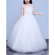 Pretty Ball Gown Illusion Neckline Full Length Tulle Flower Girl Dresses/ White Beaded Appliques First Communion Dresses
