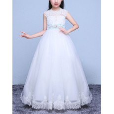 Pretty Ball Gown Full Length Lace Applique Flower Girl Dress with Belt/ White First Communion Dresses