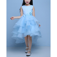 Pretty High-Low Satin Organza Layered Skirt Flower Girl Dresses with Layered Draped High-Low Skirt