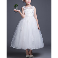 Affordable Ball Gown Illusion Neckline Sleeveless Tea Length Tulle Flower Girl Dresses with Beaded Appliques