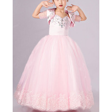Sweet Pink Ball Gown Full Length Satin Tulle Flower Girl Dresses with Jackets/ Princess Crystal Beading First Communion Dresses