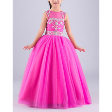 Gorgeous Ball Gown Sleeveless Full Length Tulle Flower Girl Dresses/ Luxury Crystal Rhinestone Open Back Girls Party Dresses