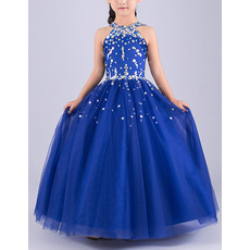 Gorgeous Ball Gown Sleeveless Full Length Tulle Flower Girl Dresses/ Luxury Crystal Beaded Girls Party Dresses