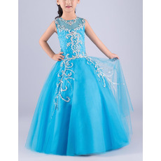 Luxury Ball Gown Sleeveless Full Length Tulle Flower Girl Dress/ Gorgeous Crystal Rhinestone Girls Party Dresses