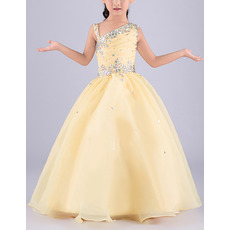 Gorgeous Ball Gown Asymmetric Neck Sleeveless Full Length Organza Flower Girl Dress/ Girls Party Dresses