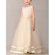 Cute Simple Ball Gown Sleeveless Long Satin Tulle Flower Girl Dresses iwith Hand-made Flowers