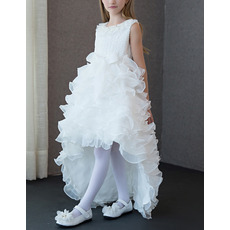 Amazing High-Low Asymmetrical Hem Ruffled Tiered Skirt Lace Organza Flower Girl Dresses with Bow/ Girls Party Dresses
