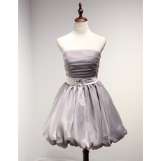 Discount Ball Gown Strapless Short Taffeta Organza Homecoming Dresses