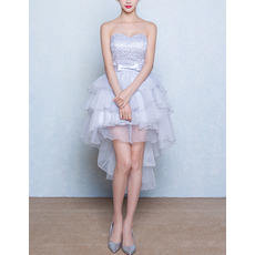 Inexpensive Sweetheart High-Low Layered Skirt Homecoming Dresses