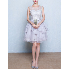 Glamorous Sleeveless Short Lace Bodice Homecoming Dresses with Layered Organza Skirt