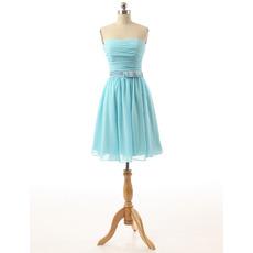 Simple Short Pleated Chiffon Bridesmaid Dresses