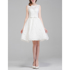 Affordable Casual A-Line Sleeveless Lace Short Wedding Dresses