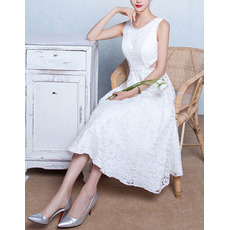 Discount A-Line Sleeveless Tea Length Lace Wedding Dresses with Cutout Waist