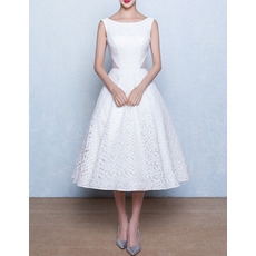 Simple Bateau Neckline Tea Length Lace Wedding Dresses with Cutout Waist