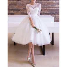 Custom Illusion Neckline Knee Length Tulle Wedding Dresses with 3/4 Long Sleeves