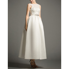 Graceful Beaded Appliques Tea Length Satin Reception Wedding Dresses