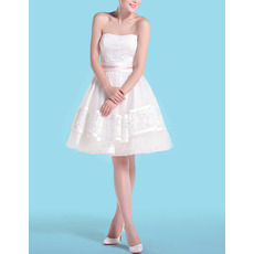 Sexy Casual A-Line Strapless Short Taffeta Petite Wedding Dresses