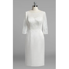 Affordable Column Knee Length Satin Wedding Dresses with Lace Sleeves