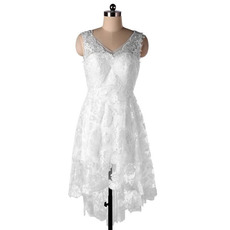 New Style V-Neck High-Low Lace Short Beach Wedding Dresses
