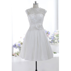 Discount A-Line Knee Length Taffeta Wedding Dresses with Sequined Appliques