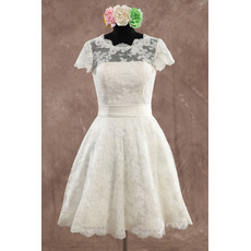 Elegant A-Line Knee Length Lace Wedding Dresses with Short Sleeves