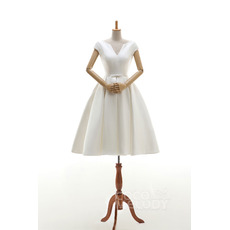 Feminine V-Neck Knee Length Satin Wedding Dresses with Cap Sleeves/ Affordable Simple Ivory Short Bride Gowns