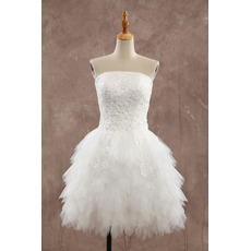 Fashionable Strapless Short Tulle Ruffle Wedding Dresses/ Breathtaking Layered Skirt Bride Gowns