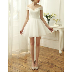 Affordable Off-the-shoulder Cap Sleeves Short Tulle Wedding Dresses/ Simple Ruched Bride Gowns