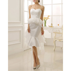 Fashionable Mermaid Knee Length Satin Organza Wedding Dresses/ Appliques Bride Gowns With Cascading Ruffles