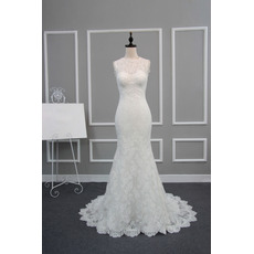 Attractive Illusion Neckline Lace Wedding Dresses with Open Back