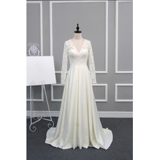Dramatic Illusion Back V-Neck Lace Bodice Wedding Dresses with Long Sleeves