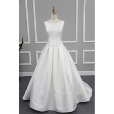 Plunging Scoop Back Satin Wedding Dresses with with Pleated Skirt