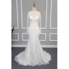 Sexy Sheath Illusion Neckline Lace Wedding Dresses with Long Sleeves