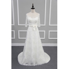 Round/ Scoop Neck Lace Wedding Dresses with 3/4 Long Sleeves