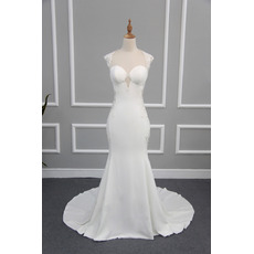 Sexy Appliques Sweetheart Satin Wedding Dresses with Illusion Back