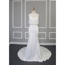 Discount Sheath Chapel Train Satin Lace Blouse Wedding Dresses
