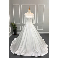 Elegant Ball Gown Off-the-shoulder Satin Wedding Dresses with 3/4 Long Sleeves