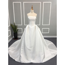2017 Ball Gown Strapless Cathedral Train Satin Wedding Dresses